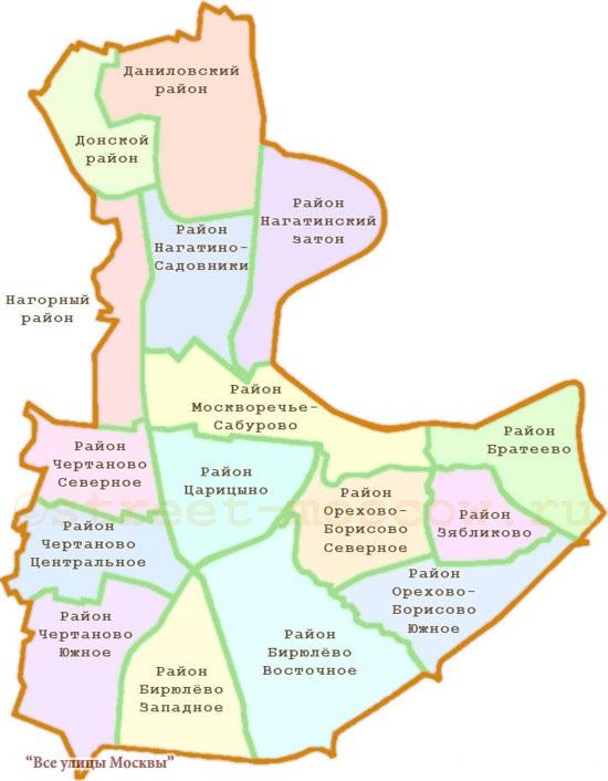 Схема Южного административного